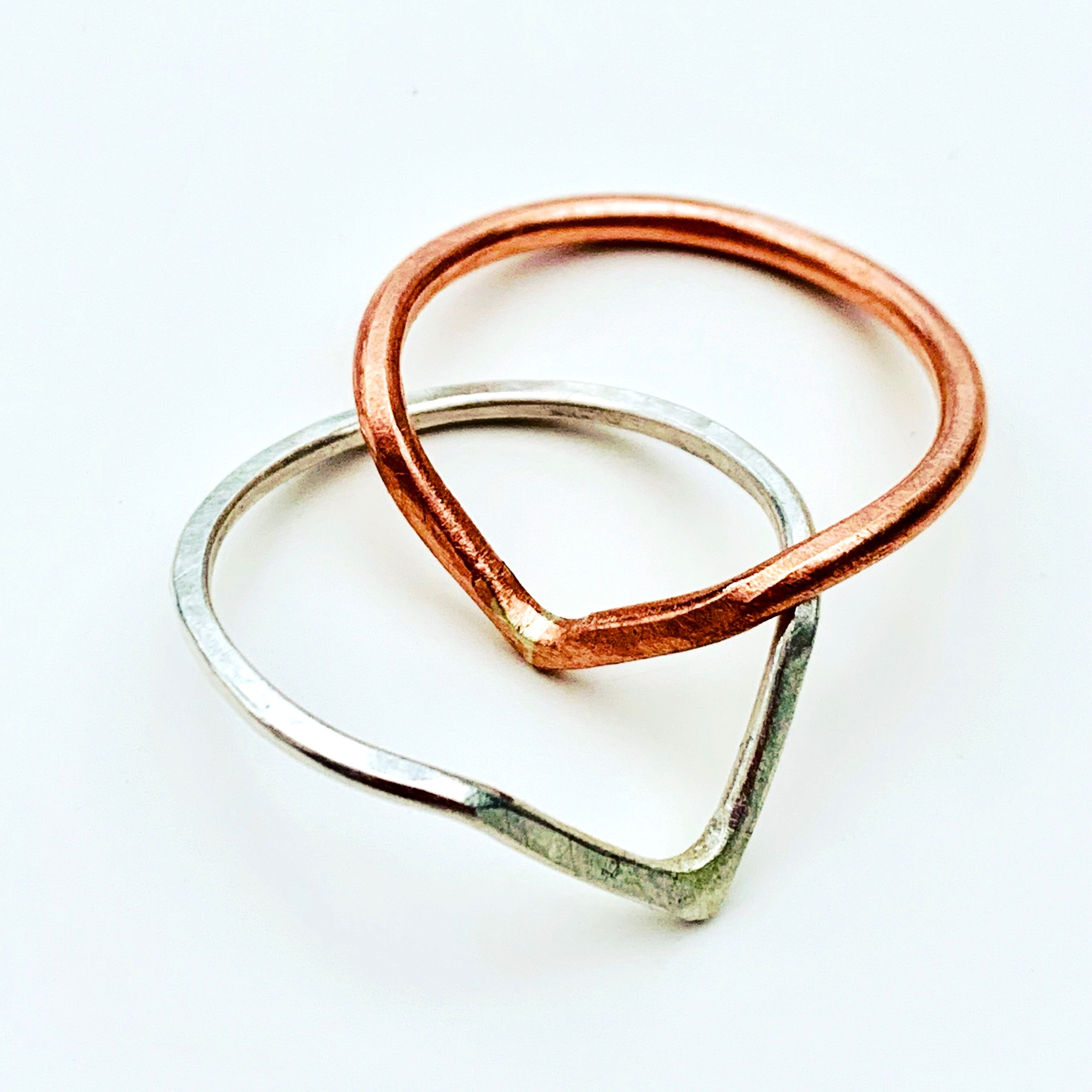 Silver and Copper V Shaped Rings